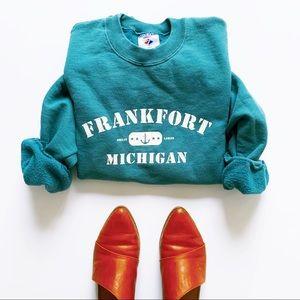 Teal oversized Michigan crewneck cozy sweatshirt